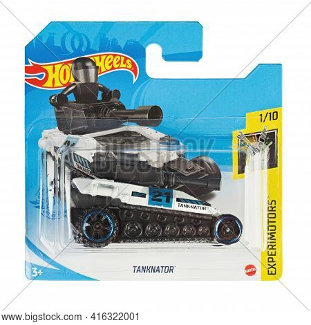 Ukraine, Kyiv - April 05. 2021: Hot Wheels Toy Car  Tanknator Close Up Picture. Wheels Is A Scale Di