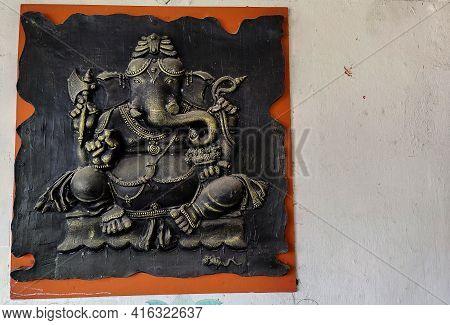 Gulbarga , Karnataka , India- 02 June 2020;stock Photo Of Mural Art Of Hindu God Ganesha Made Up Of