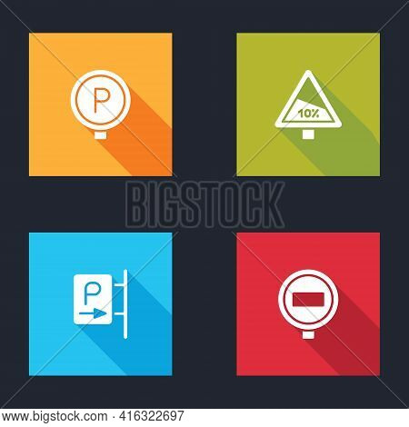 Set Parking, Steep Ascent And Descent Road, And Stop Sign Icon. Vector