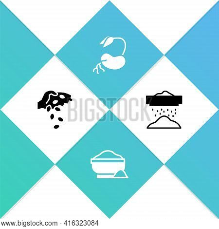 Set Seed, Flour Bowl, Sprout And Sifting Flour Icon. Vector