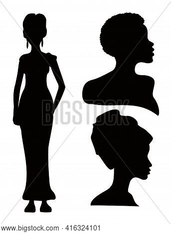 African American Young Woman Face And Figure Vector Black Silhouettes. Silhouettes Of African Americ