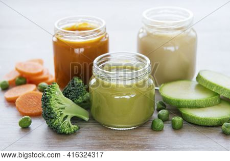 Baby Food, Assortment Of Fruit And Vegetable Puree