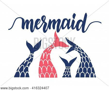 Mermaids Background With Mermaid And Fish Tails Vector. Illustration Of Sea Mermaid Tail, Marine Ban