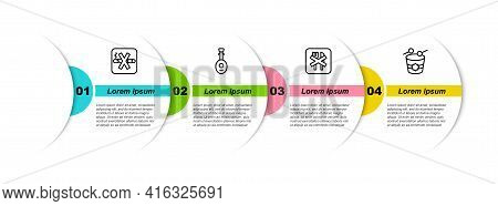 Set Line No Smoking, Lute, Ramadan Fasting And Drum. Business Infographic Template. Vector