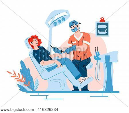 Oral Health Checkup Of Dentist Scene With Woman Patient In Chair. Dental Office With Patient And Doc