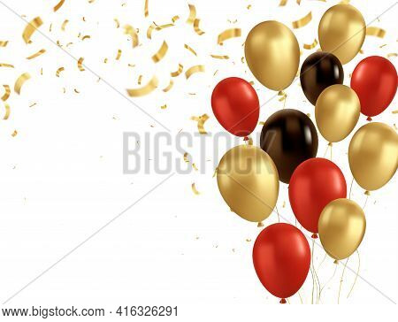 Red, Black And Gold Balloons And Golden Confetti. Vector Glossy Realistic Baloon On Transparent Back