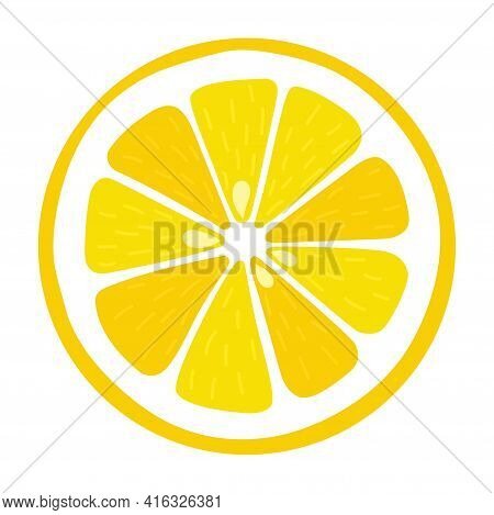 Lemon Slice With Seeds On An Isolated White Background. Vitamin C. Vector Illustration