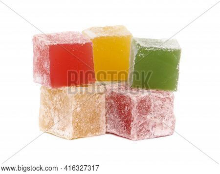 Colorful Sweet Turkish Delight Isolated On White