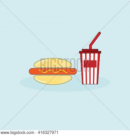 Hambergur With Hot Dog ,mustard  And Soft Drink On Light Blue Background.vector Icon Illustration.fa