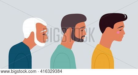 Grandfather, Father, Son. Cartoon Characters Showing Age Progress. Three Men Generations. Different