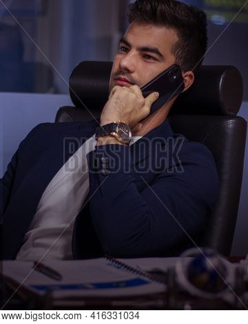 Athens,greece - April 08 2021 : Working Overnight At The Office