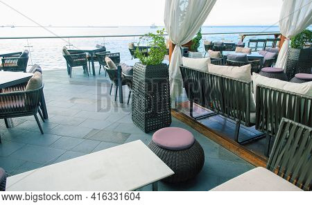 The Interior Of The Terrace Without People On The Background Of The Sea. Recreation Area Near Sea. S