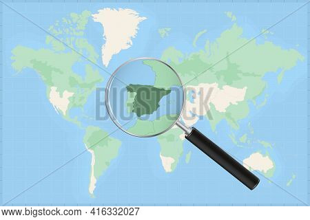 Map Of The World With A Magnifying Glass On A Map Of Spain Detailed Map Of Spain And Neighboring Cou