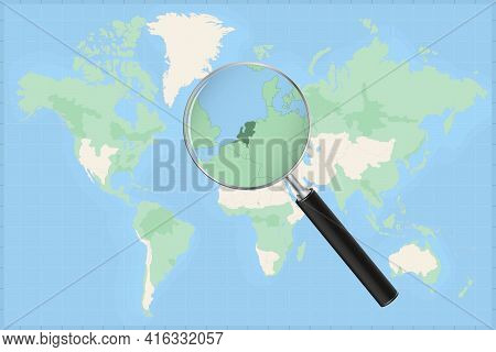 Map Of The World With A Magnifying Glass On A Map Of Netherlands Detailed Map Of Netherlands And Nei