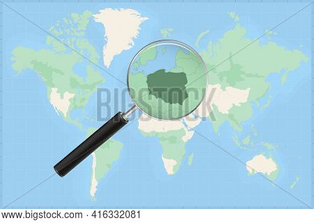 Map Of The World With A Magnifying Glass On A Map Of Poland Detailed Map Of Poland And Neighboring C
