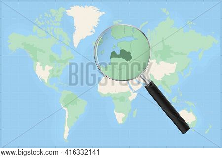 Map Of The World With A Magnifying Glass On A Map Of Latvia Detailed Map Of Latvia And Neighboring C