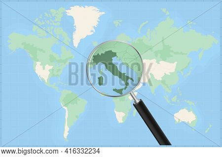 Map Of The World With A Magnifying Glass On A Map Of Italy Detailed Map Of Italy And Neighboring Cou