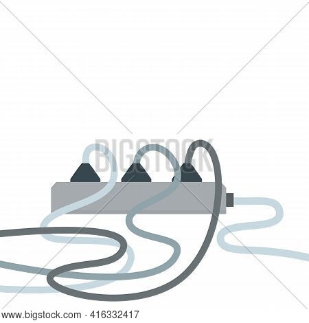 Many Outlets To Plug With Wires. Load On System. Cartoon Flat Illustration. High Voltage And Current