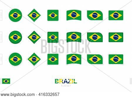 Brazil Flag Set, Simple Flags Of Brazil With Three Different Effects. Vector Illustration.