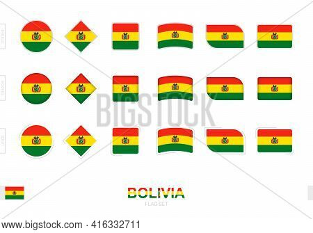 Bolivia Flag Set, Simple Flags Of Bolivia With Three Different Effects. Vector Illustration.