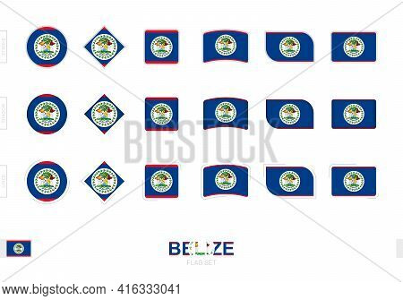Belize Flag Set, Simple Flags Of Belize With Three Different Effects. Vector Illustration.