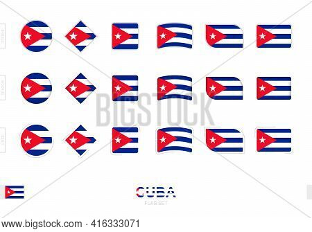 Cuba Flag Set, Simple Flags Of Cuba With Three Different Effects. Vector Illustration.