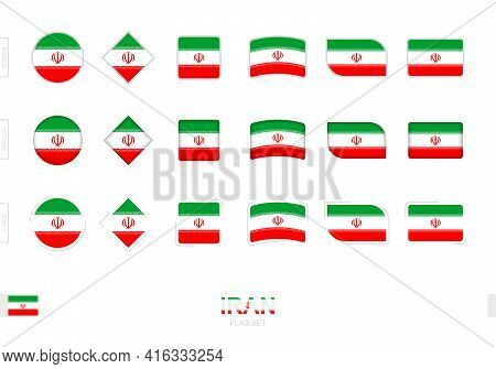 Iran Flag Set, Simple Flags Of Iran With Three Different Effects. Vector Illustration.