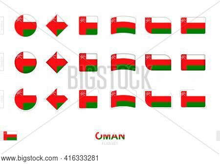 Oman Flag Set, Simple Flags Of Oman With Three Different Effects. Vector Illustration.