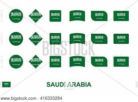Saudi Arabia Flag Set, Simple Flags Of Saudi Arabia With Three Different Effects. Vector Illustratio
