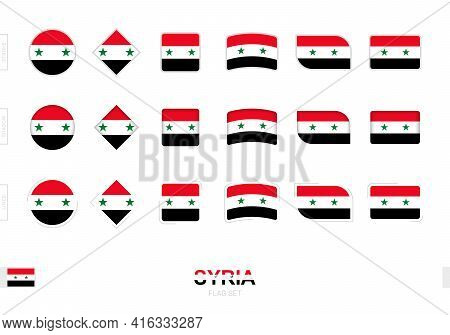 Syria Flag Set, Simple Flags Of Syria With Three Different Effects. Vector Illustration.
