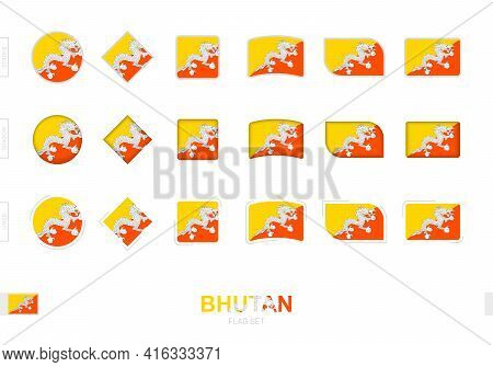 Bhutan Flag Set, Simple Flags Of Bhutan With Three Different Effects. Vector Illustration.