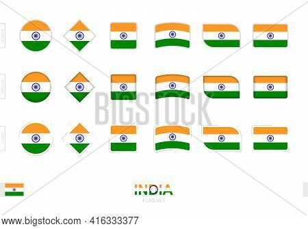 India Flag Set, Simple Flags Of India With Three Different Effects. Vector Illustration.