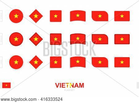 Vietnam Flag Set, Simple Flags Of Vietnam With Three Different Effects. Vector Illustration.