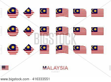 Malaysia Flag Set, Simple Flags Of Malaysia With Three Different Effects. Vector Illustration.