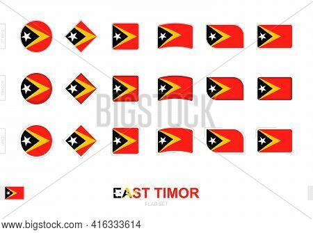 East Timor Flag Set, Simple Flags Of East Timor With Three Different Effects. Vector Illustration.