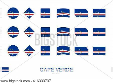 Cape Verde Flag Set, Simple Flags Of Cape Verde With Three Different Effects. Vector Illustration.
