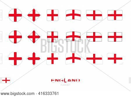 England Flag Set, Simple Flags Of England With Three Different Effects. Vector Illustration.