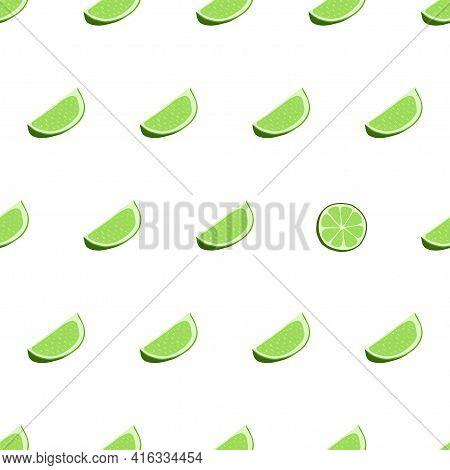 Hand Drawn Seamless Pattern With Sliced Lime. Fabric Print Texture With Eye Catching Element - Slice