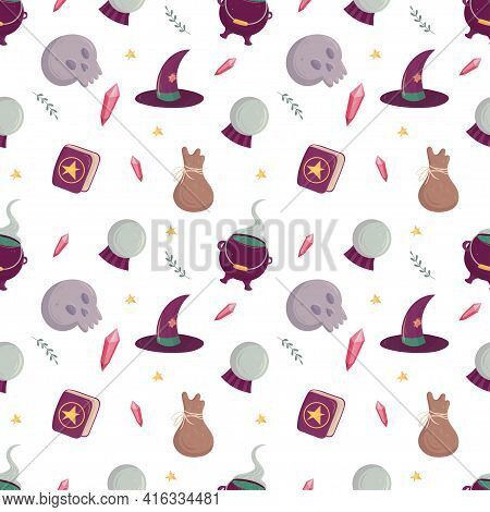 Witch Seamless Pattern With Esoteric Tools. Witchcraft Supply