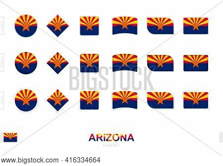 Arizona Flag Set, Simple Flags Of Arizona With Three Different Effects. Vector Illustration.