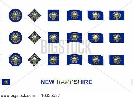New Hampshire Flag Set, Simple Flags Of New Hampshire With Three Different Effects. Vector Illustrat