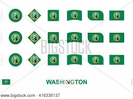 Washington Flag Set, Simple Flags Of Washington With Three Different Effects. Vector Illustration.