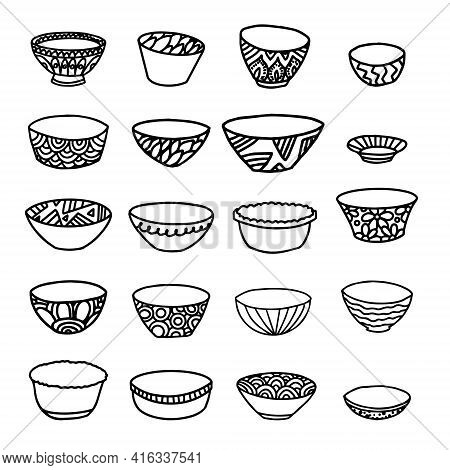 Vector Set Of Bowls And Plates In The Style Of Doodle Isolated On A White Background. Twenty Bowls W