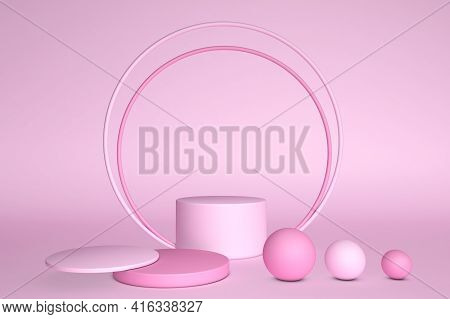 Abstract Minimal 3d Pink Scene With Geometrical Forms. Cylinder Podium Pink Pastel Colors. Scene To