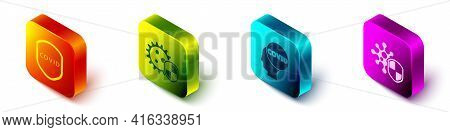 Set Isometric Shield Protecting From Virus, Shield Protecting From Virus, Corona Virus Covid-19 And