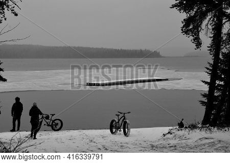 Bicycle Near A Icy Lake In Autumn In Quebec, Canada