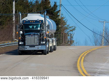 Huge Tanker Truck On A Road From Quebec To Canada