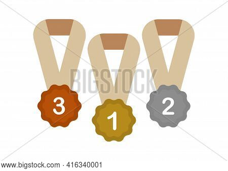 Illustration Of A Gold Medal For Champion 1, Silver For Champion 2 And Bronze For Champion 3