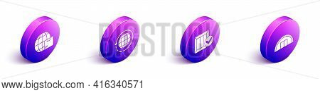 Set Isometric Worldwide Shipping And Box, Worldwide Shipping And Box, Wooden Box With Check Mark And