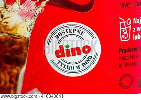 Pruszcz Gdanski, Poland - April 8, 2021: Only In Dino Sign. Dino Polska S.a. Is A Polish Retail Chai